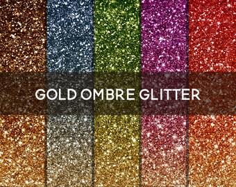 "Ombre Glitter Digital Paper Gold ""Colorful"" Glitter Background Digital Glitter Ombre Glitter Texture Ombre Digital Paper Clipart Sparkle"