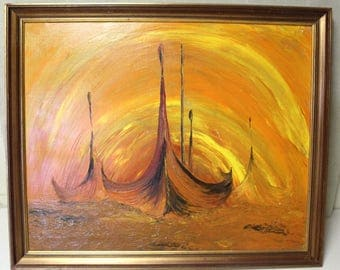 Viking Ships Dramatic Painting on Canvas Palet Knife Applied Vivid Oranges and Yellows Sunset at Sea 1970's Danish Modern Scandinavian Bold