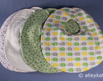 Infant Baby Bibs, Neutral Colors, Reversible, Set of 4