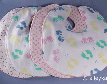 Infant Baby Bibs, Pinks (set #2), Reversible, Set of 4