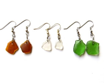 Lake Erie Beach Glass Dangly Earrings: Various Colors
