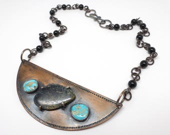 Bronze and Turquoise Bib Necklace