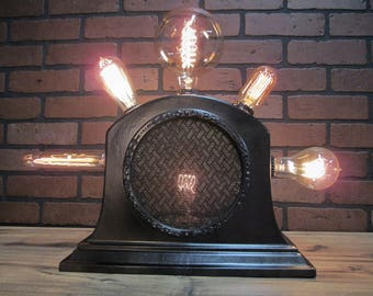 """Vintage Retro Repurposed Table Lamp RCA Loud Speaker 16"""" Tall with Edison Bulb Collection Steampunk Lamp"""