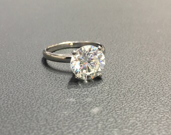 3 Carat Solitaire Diamond Engagement Ring,  Diamond Engagement Ring, 18K White Gold Ring, Diamond Gold Ring FREE SHIPPING