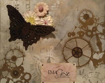 Butterfly Gears Imagine Mixed Media Canvas