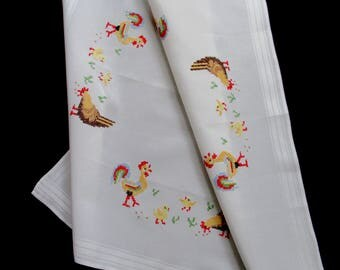 Vintage hand-cross-stitched tablecloth or table topper - white topper with hand-cross-stitched roosters and hens - 31x30 inches / 78.5x76 cm