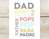 Dad, Papa, Father's Day card, Names for dads
