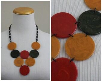 Vintage Multi-Color Authentic tested BAKELITE Bib Necklace Plastic Celluloid Link Chain