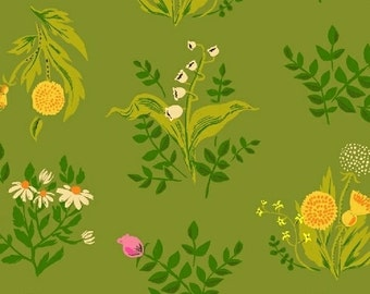 Sleeping Porch Cotton Lawn, Fabric by the yard, Heather Ross Fabric, Windham Fabrics, Green Floral Bouquet, Bright Green Fabric, 42207-8