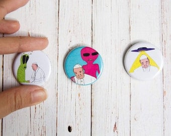 "Abducted Pope Pinback Button Badge  1.25""  / Set of 3 / Alien UFO Abduction Pope Science Fiction Extraterrestrial Humor Funny"