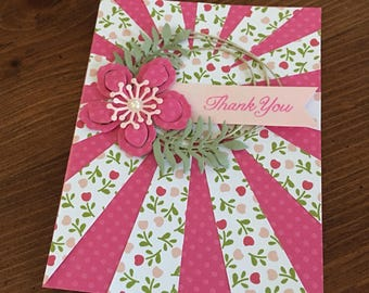 handmade pink and white embellished card - elegant pink flower card - Beautiful thank you card