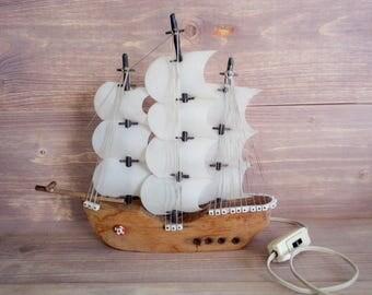 Vintage Frigate Night Lamp Light Wooden Sailboat Lamp Nautical Decor Light Table Lamp