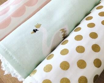 SWAN, SCALLOP, DOT- cotton chenille burp cloth set,