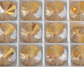 2 ~ Golden Shadow 18mm 1122 Swarovski Elements crystal 1122 Crystal Rivolis