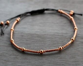 Copper beaded bracelet, skinny stacking bracelet, dainty copper bracelet, beaded friendship bracelet, minimalist beaded bracelet,