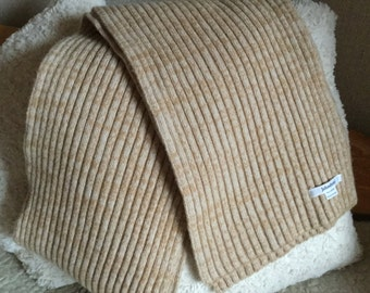 Vintage Johnstons beige light brown knitted pure lambswool  scarf made in Scotland