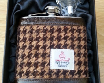 Hip Flask /  Harris Tweed / Leather