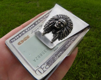 Native American Indian Chief & Men Money clip Double side Stainless steel nice gift for FSU Seminole fans