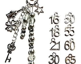 Birthday Bag charm keyring 16th 18th 21st 30th 40th 50th 65th birthday celebration gift