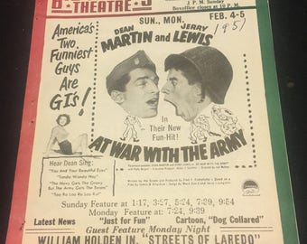 Original 1951 Movie Poster Theatre Herald At War With The Army, The Fireball, Dean Martin, Jerry Lewis, Rollerskating, Roller Derby