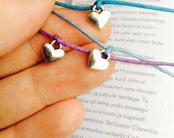 Heart charm wish bracelet, friendship bracelets, heart charm bracelet, minimalist bracelet, cord bracelet, string bracelet