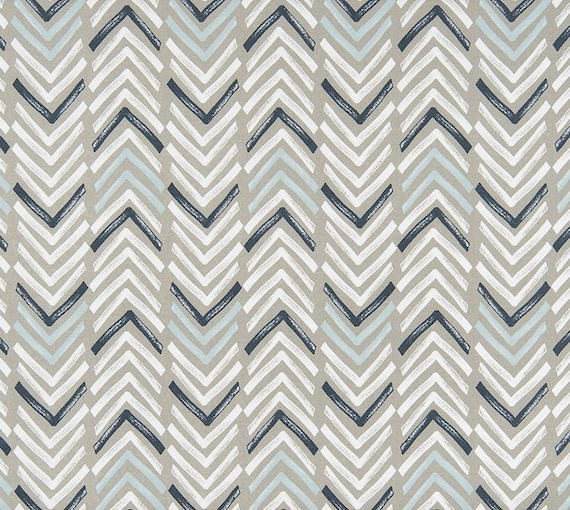 Gray Navy Aqua Designer Home Decor Fabric By The Yard Cotton Drapery Curtains Fabric Upholstery Fabric Contemporary Geometric Fabric C743 From
