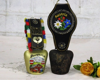 Couple Two Vintage Authentic Austrian Cowbells Rustic Bell Strap Embroidery