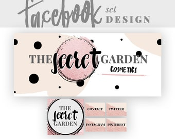 Facebook Page Timeline Cover Design | Social Media Branding Design | Yellow Black Facebook Cover | Clean Page Banner |  THE SECRET GARDEN