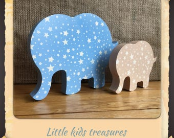 Freestanding chunky wooden elephants - set of 2 (blue / stone) - Little kids treasures