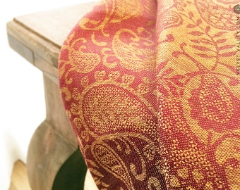 Linen golden red linen tablecloth-Luxurious vintage style tablecloth-Large small floral tablecloth