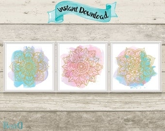 Gold mandala printables,colorful mandala printables set,12x12 mandala set posters,Instant Download,living room mandala set printables