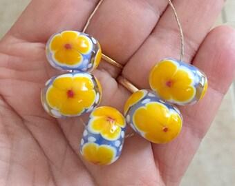 2+  Yellow  lampwork flower Beads, Handmade Glass Beads, Floral Lampwork, Colorful Floral Lamp work