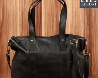 LECONI shopper shoulder bag Tote purse vintage leather black LE0034-wax