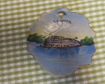 S. S. Admiral Handpainted Made in Japan Plate Leaf Pattern