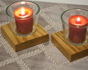 Oak Votive Candle Holder - Two