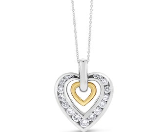 1.00 CT Natural Diamond Heart Pendant In Solid 14k Two-Tone Gold