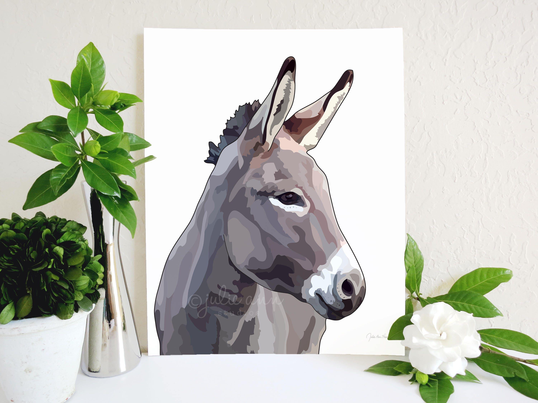 Donkey Art Print Farm Animal Wall Art Farmhouse Decor