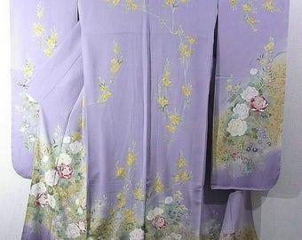 Japanese vintage kimono furisode Enticing seasonal flowers motifs