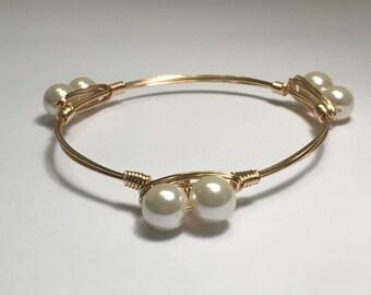 Pearl Wire Wrapped Bracelet, Bangle Bracelet, Wire Wrapped Bangle, Pearl Bangle, Pearl Bracelet