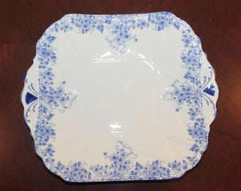 Shelley Fine Bone China Dainty Blue Square Handled Cake Plate