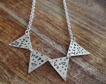 Handmade Sterling Silver Bunting Necklace, Flag Necklace, Triangle Necklace, Silver Necklace, Faith, Hope, Love Necklace, Sentiment Necklace