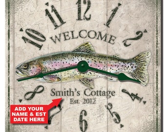 Trout Fishing Cottage Personalized Wall Clock