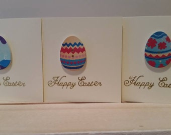 Set of 4 Mini Easter Cards with Wooden Easter Eggs : Handmade Card Set for a Happy Easter / School Parties