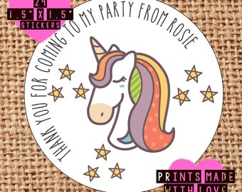 24 party bag thank you for coming personalised stickers favours sweet cone unicorn 4 designs available