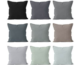 Solid Neutral Gray Pillow Covers Set Mix and Match, Neutral Accent Pillow Covers, Neutral Home Decor, Masculine Decor Cushion Cover