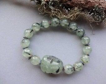 Translucent green Prehnite hematite powerful stretch Bracelet