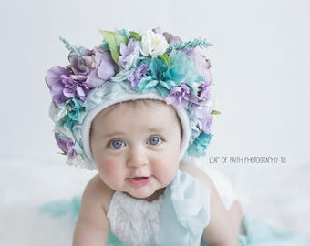 Flower bonnet, upcycled romper, photo prop