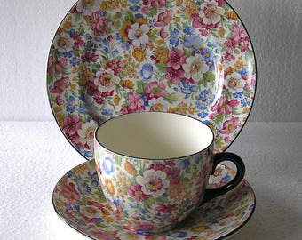 Vintage Burlington Floral Chintz  Pattern  Trio Cup , Saucer and Side Plate