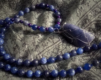 Sodalite necklace - wire wrapped pendant plus beads.