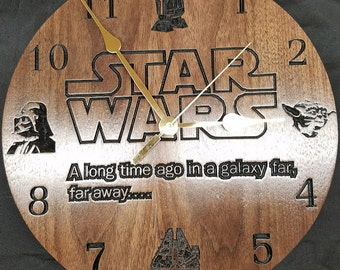 Star Wars Clock/ Yoda, R2D2, Millenium Falcon, Darth Vadar/ Star Wars Decor